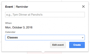 GCal new event